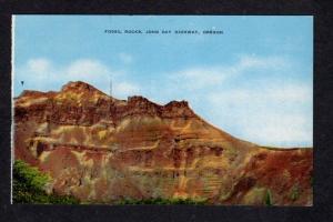 OR Vintage Fossil Rocks John Bay Highway Oregon Postcard Carte Postale