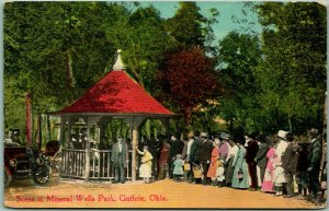 Guthrie, Oklahoma Postcard Scene in Mineral Wells Park Line for Water Fountain