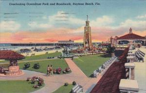 Florida Daytona Beach Overlooking Oceanfront Park And Broadwalk 1952