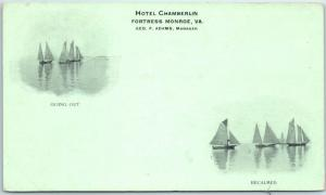 Fortress Monroe, Virginia Postcard HOTEL CHAMBERLIN w/ Sail Boats c1900s UNUSED