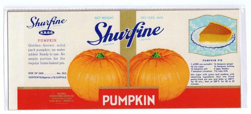 Shurfine Pumpkin Vintage Can Label 14 1/2 oz N.R.O.G.
