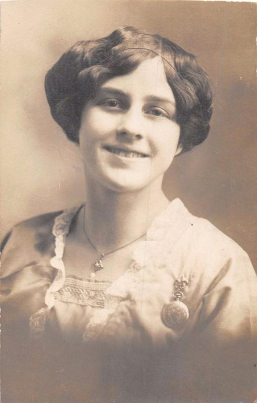 PORTRAIT OF WOMAN~NECKLACE & PIN~IDENTIFIED~ROSE BERG~REAL PHOTO POSTCARD
