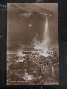 Mint Germany Picture Postcard Zeppelin bomber Attacking Antwerp Belgium WW1