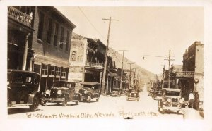 RPPC VIRGINIA CITY C Street Scene Old Cars April 1930 Nevada Vintage Postcard