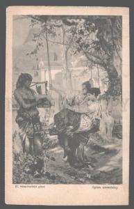 3101220 NUDE Black SLAVE Woman Musicain HARP by SEMIRADSKY old