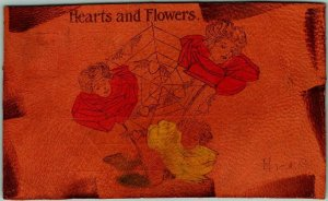 Vintage 1906 LEATHER Greetings Postcard Hearts & Flowers Girls' Faces / Roses
