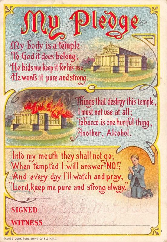 Prohibition~My Temperance Pledge~Temple in Flames~Alcohol~Tobacco~David C Cook