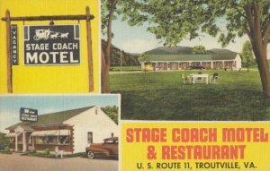 TROUTVILLE , Virginia , 1930-40s ; Stage Coach Motel & Restaurant