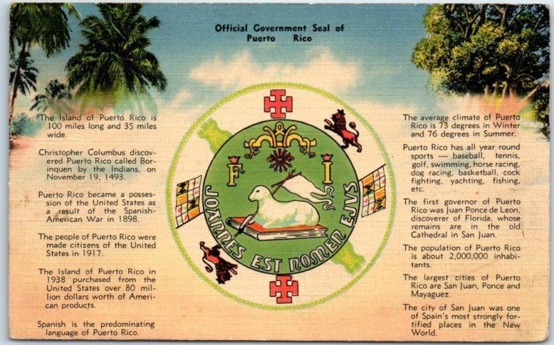 1940s PUERTO RICO Postcard Official Government Seal Tichnor Linen