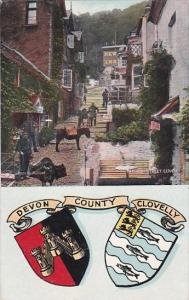 England Clovelly High Street and Coats Of Arms