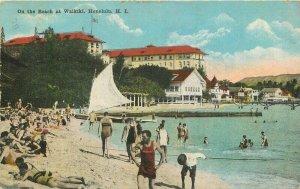 C-1915 Beach Waikiki Hawaii Honolulu Island Curio Sailboat Postcard 20-1781