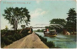 1908 Erie Canal Near Schenectady NY New York Ferry Steamboat RARE DB Postcard