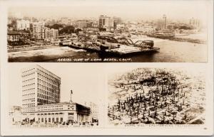 Long Beach CA Calif Aerial Farmers Bank Signal Hill 1928 Real Photo Postcard E46