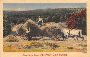 Clinton Arkansas~Farmers Fill Horse Drawn Hay Rack~Pitchforks~1949 Linen PC