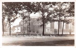 C54/ Mt Mount Pleasant Michigan Mi RPPC Postcard 40s Field House Central College
