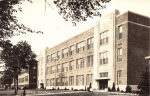 Jackson Minnesota~High School Building~Man @ Far Entrance~1944 RPPC