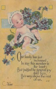 Birth Announcement, PU-1916; Baby, Flowers, Poem