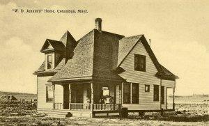 Postcard Columbus Montana Residence W. D. Jenkin's Home sepia