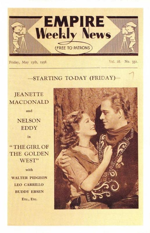 Postcard Nostalgia 1938 Empire Weekly News The Girl of the Golden West Repro