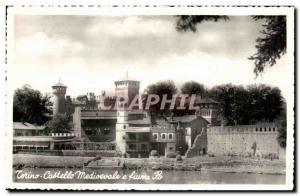 Old Postcard Torino Castello medioevalo e Fiume Po