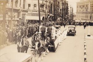 RP; Parade, WINNIPEG, Manitoba, Canada, 1931; Horse-drawn float of Miniature ...