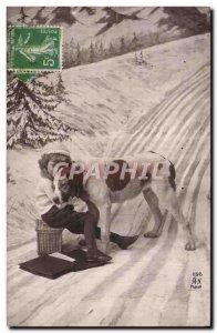 Postcard Old Dog Fun Children