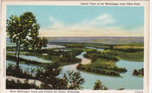 Wisconsin Prairie du Chien Scenic View Of The Mississippi From Pikes Peak Cur...