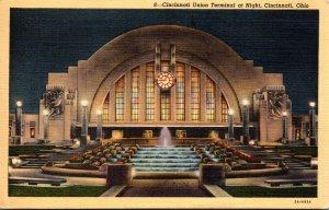Ohio Cincinnati Union Terminal At Night 1942 Curteich