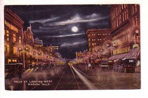 Falls Street Looking West Niagara Falls, New York, Moonlight Night