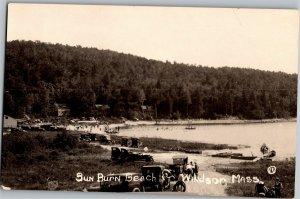 RPPC Sun Burn Sunburn Beach at Windsor Pond, Windsor MA Vintage Postcard U11