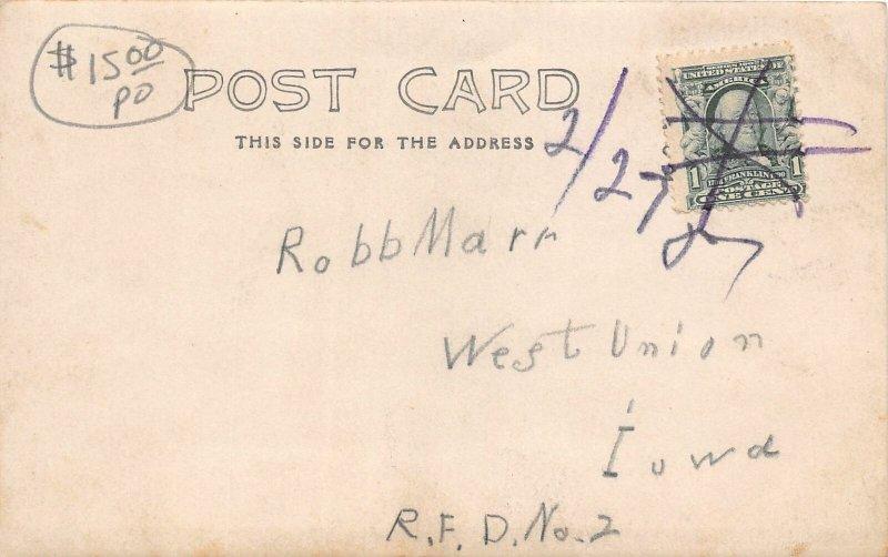 F99/ West Union Iowa RPPC Postcard c1910 Fountain Square Stores