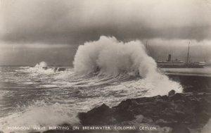 COLOMBO, Ceylon, 1900-10s; Monsoon Wave Bursting on Breakwater, Lighthous, Ship