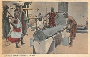 Zanzibar Water Carriers At The Pipe Tanzania Africa c1910s Vintage Postcard