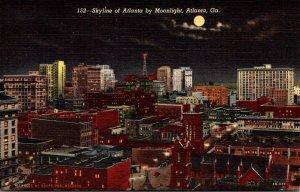 Georgia Atlanta Skyline By Moonlight Curteich