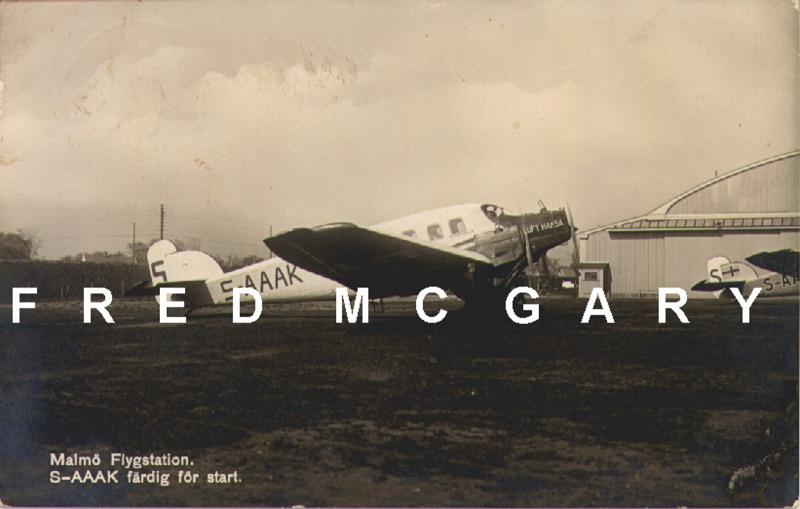 1925 Malmö Flygstation Sweden RPPC: Junkers G-23 Trimotor