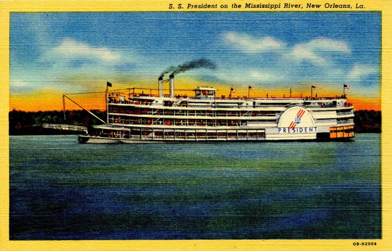 LA - New Orleans. SS President on the Mississippi River