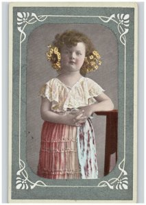 Textured Flocked Border Child Girl w/ Flowers in Hair Hand Painted RPPC 1912