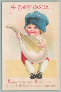 Clapsaddle Easter~Lil Blond Boy In Blue Cap Plays Eggshell Mandolin~Embossed