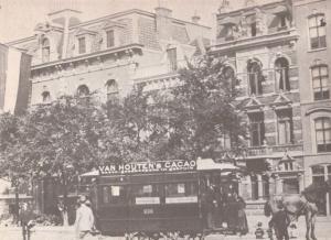 Van Houtons Cocoa Bus Tram Advertising Poster Amsterdam in 1890 Postcard