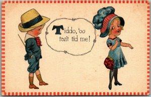 1910s Barton & Spooner Romance Comic Postcard Tiddo, 'oo tain't Tid Me