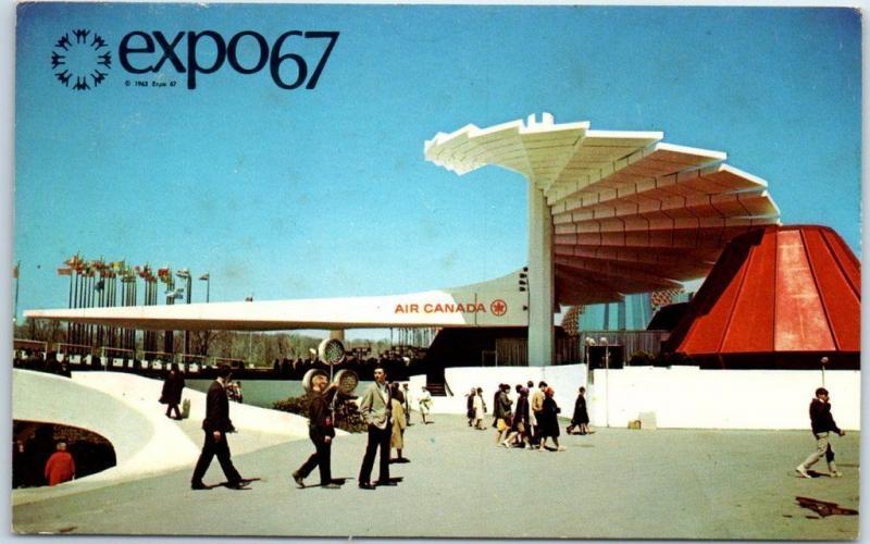 Expo67 Montreal Worlds Fair Postcard AIR CANADA PAVILION W 1967 Cancel HipPostcard
