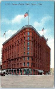Denver, Colorado Postcard BROWN PALACE HOTEL Downtown Street Scene c1910s Unused
