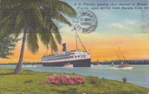 Florida Miami S S Florida Passing Thru Channel At Miami