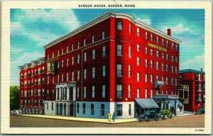 Bangor, Maine Postcard BANGOR HOUSE HOTEL Street View c1940s Linen - Unused