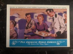 Mint USA Postcard Pan American Airways Preview Of Flying Full Course Meal