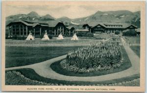 Great Northern Railway Postcard GLACIER PARK HOTEL Tepees 1940s Albertype Unused