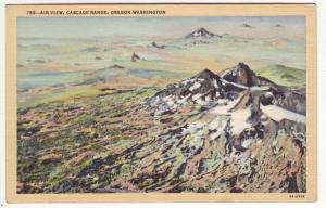 P707 Linen 1930-1945 prehistoric volcanoes air view cascades oregon-washington