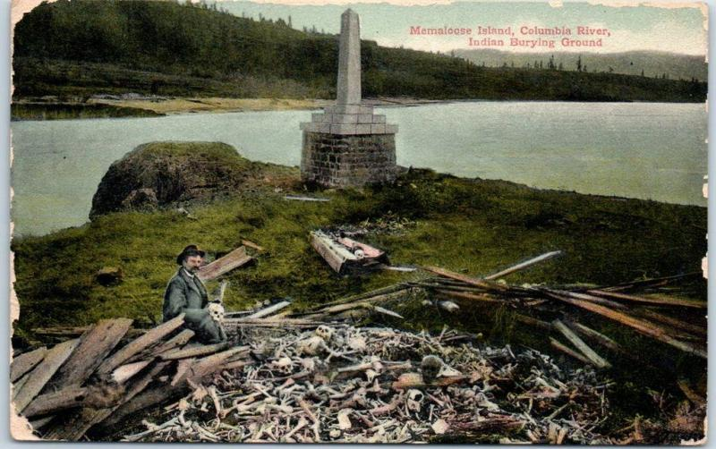 1910 Columbia River Postcard MEMALOOSE ISLAND Indian Burying Ground Human Bones