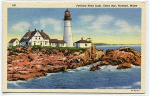 Portland Head Lighthouse Casco Bay Portland Maine linen postcard