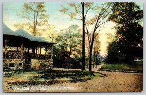 Indianapolis Indiana~Brookside Park~Stone Foundation Pavilion~Dirt Path~c1912